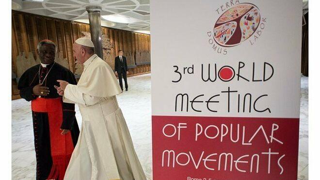 El Papa y el cardenal Turkson en el Encuentro de Movimientos Populares en Roma