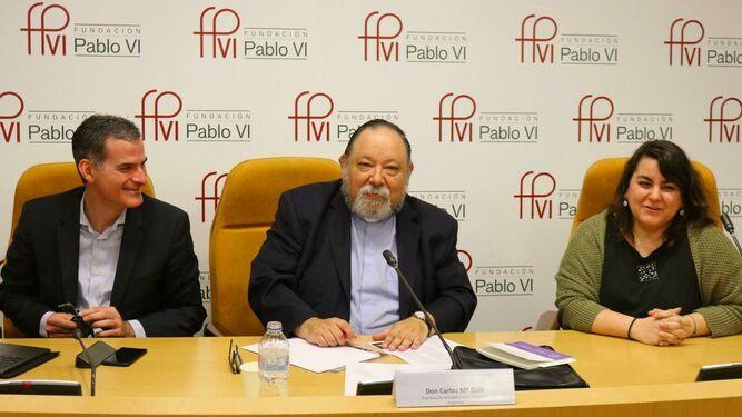 Rafael Luciani, Carlo Mª Galli y Silvia Martínez Cano, en la Fundación Pablo VI