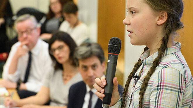 La activista Greta Thunberg, en el parlamento británico
