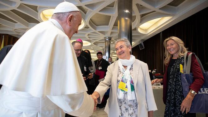 María Luisa Berzosa, con el Papa Francisco