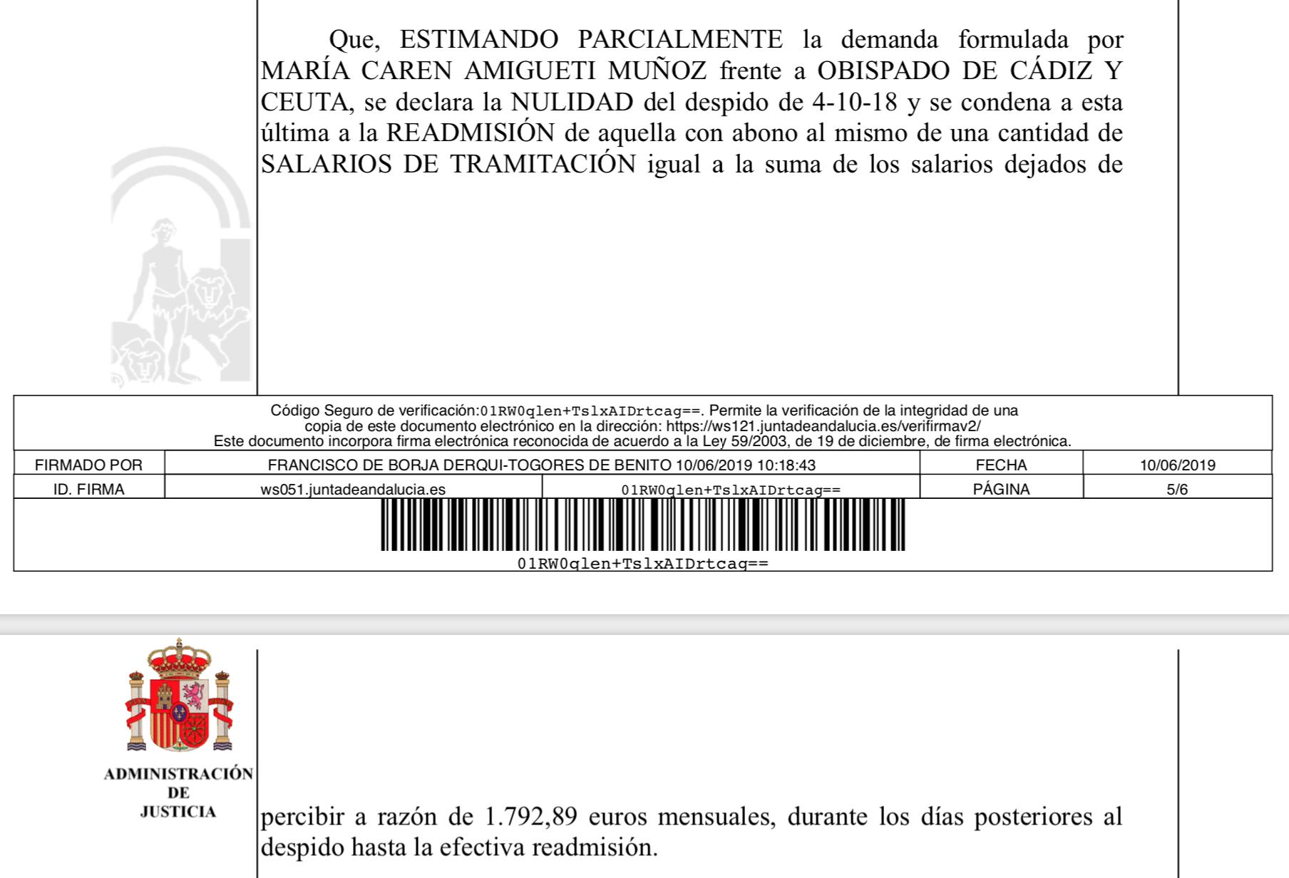 Parte de la sentencia contra el obispado de Cádiz