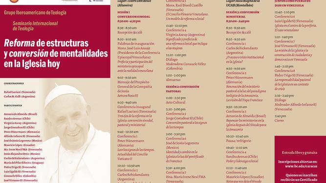 Programa del Seminario Internacional de Teología (Caracas 2019)