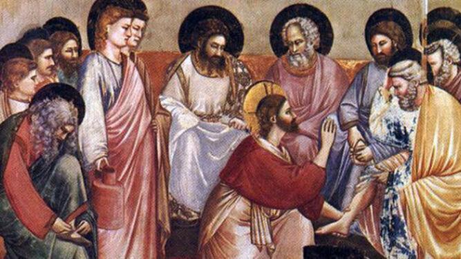 Jesús lava los pies a sus discípuulos