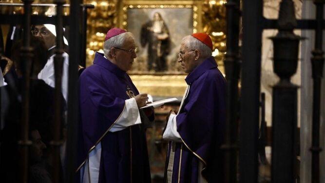 Rouco, junto a Reig, en el funeral del obispo de Zamora