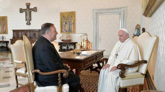 Papa y Pompeo en el Vaticano con tema Venezuela en agenda