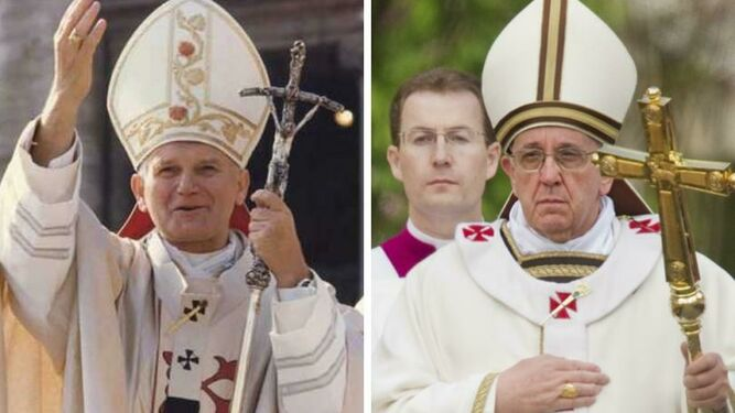 Papas Juan Pablo II y Francisco