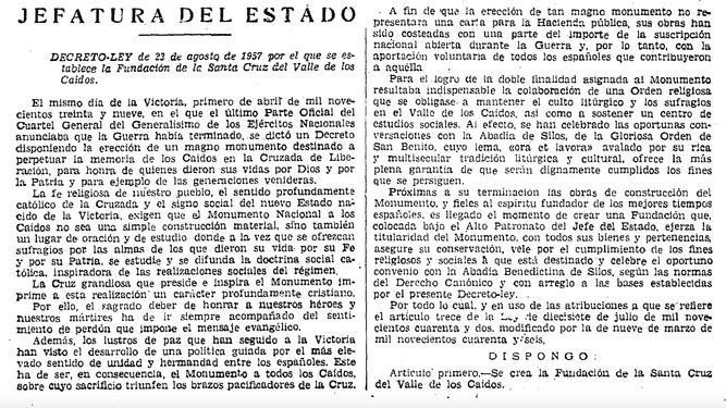 Decreto de Franco de creación del Valle de los Caídos
