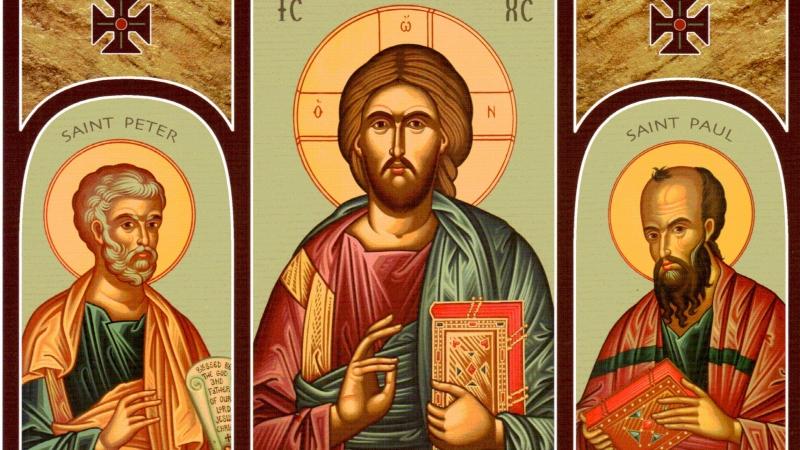 San Pedro y san Pablo con el Maestro