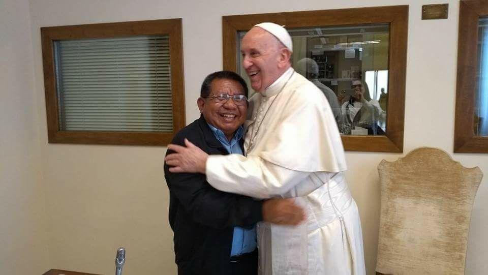 Justino Sarmento Rezende con el Papa Francisco