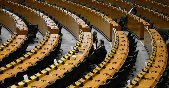 Miembros del Parlamento Europeo en Bruselas