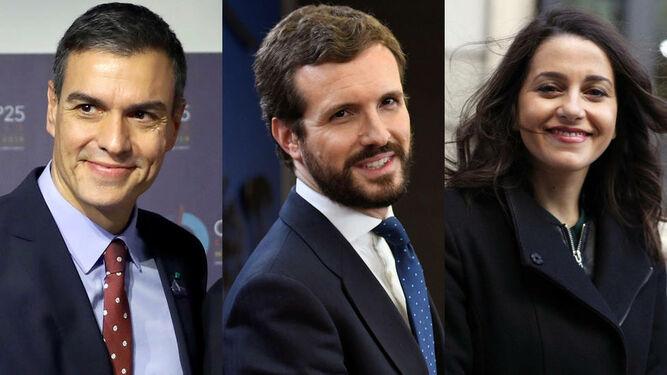 Pedro Sánchez, Pablo Casado e Inés Arrimadas