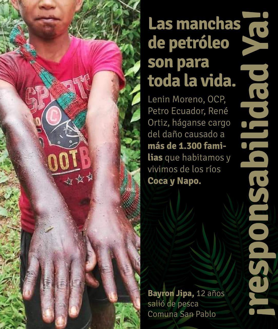 Los indígenas sufren las consecuencias del derrame de petroleo