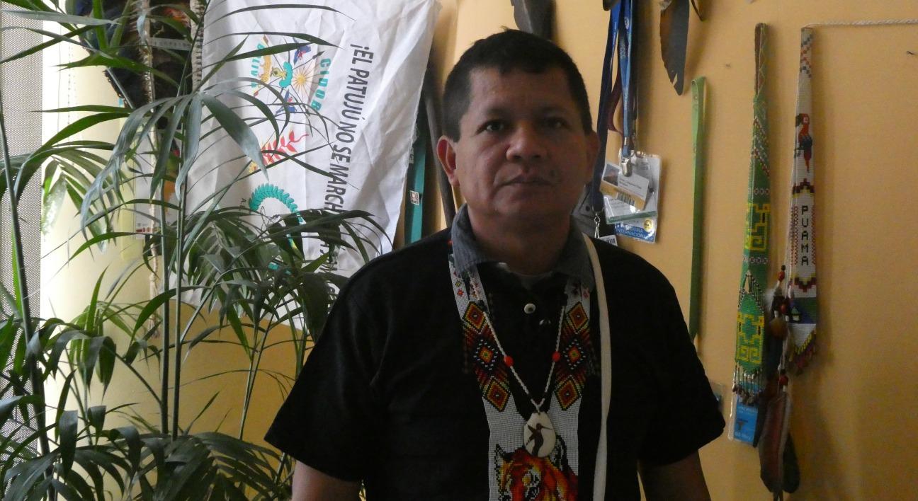 Gregorio Díaz Mirabal en la sede de la COICA