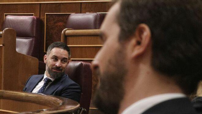 Santiago Abascal y Pablo Casado, en el Congreso