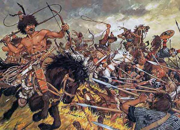 Illustration-The-Huns-in-battle