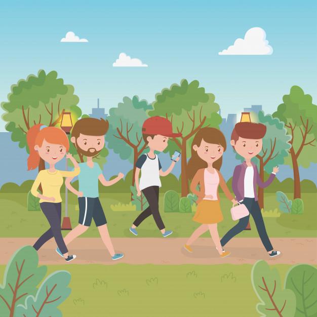 jovenes-caminando-personajes-parque_24640-46241