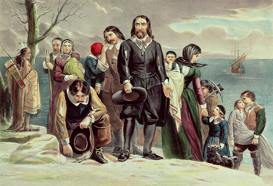 the-landing-of-the-pilgrims-at-plymouth-currier-and-ives