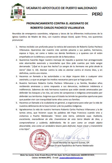 Pronunciamiento Vicariato de Puerto Maldonado