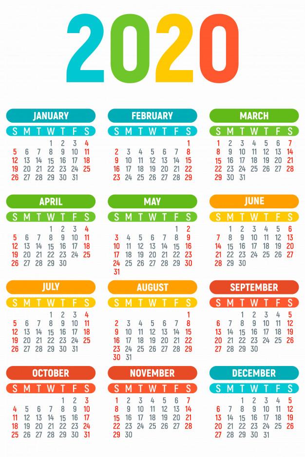 calendario-ano-2020-ninos-estilo-plano_98396-1633