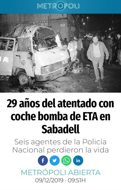 bomba de ETA en Sabadell