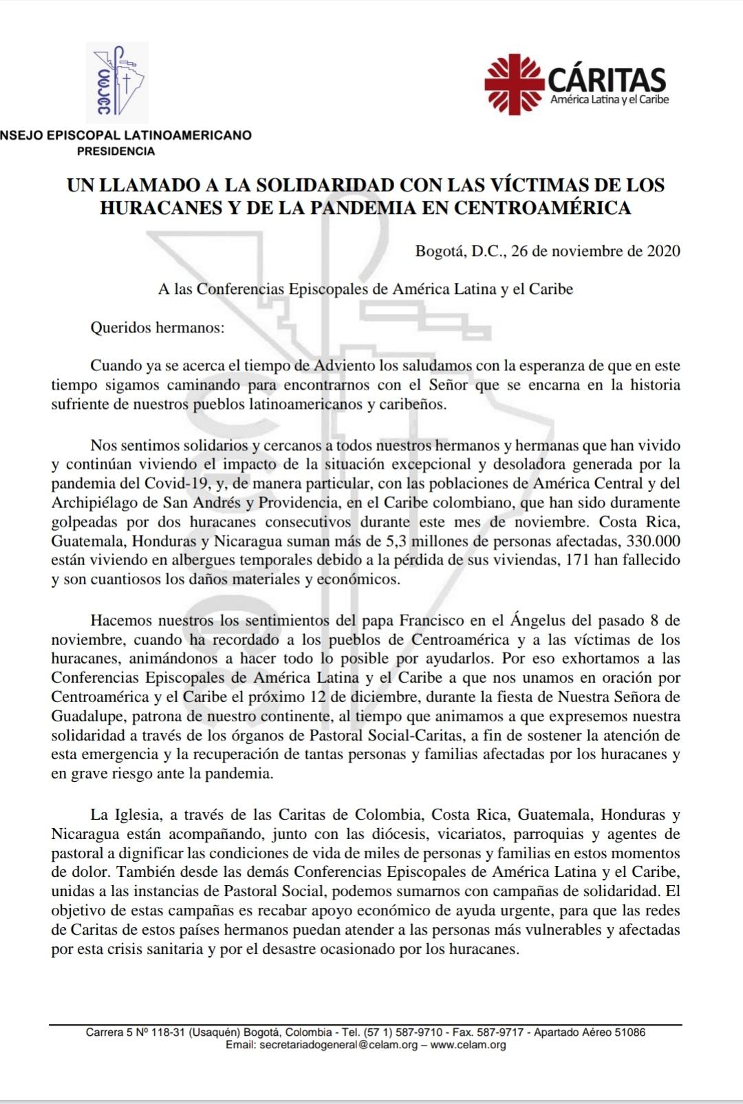Nota CELAM y Cárita América Latina y el Caribe