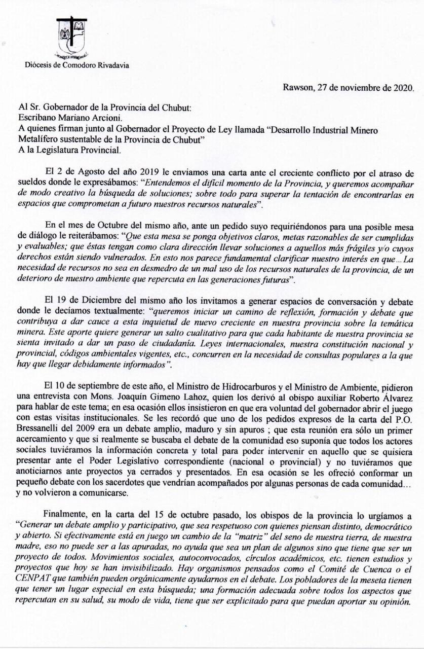 Carta obispos del Chubut