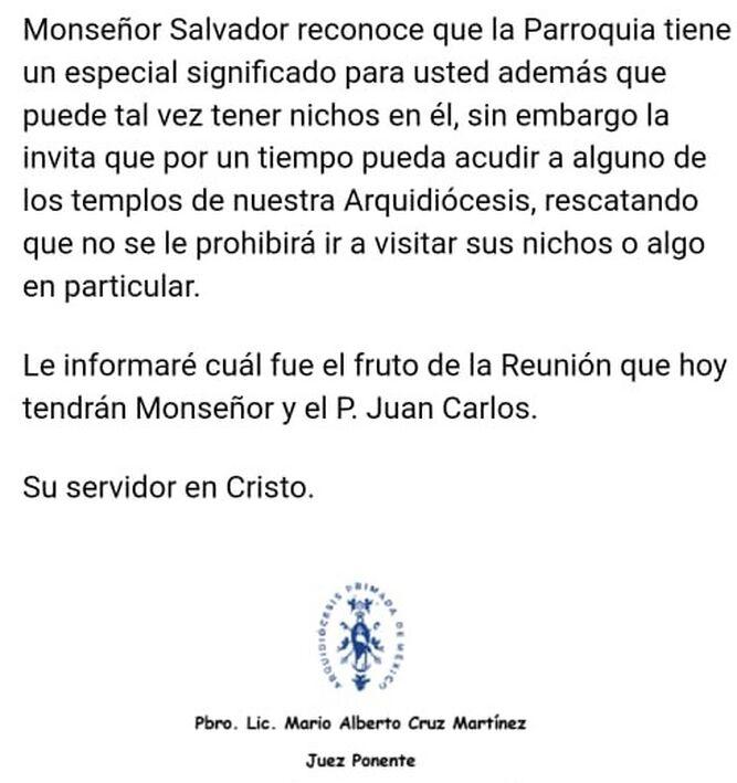 Tribunal eclesiástico. Cordial invitación.