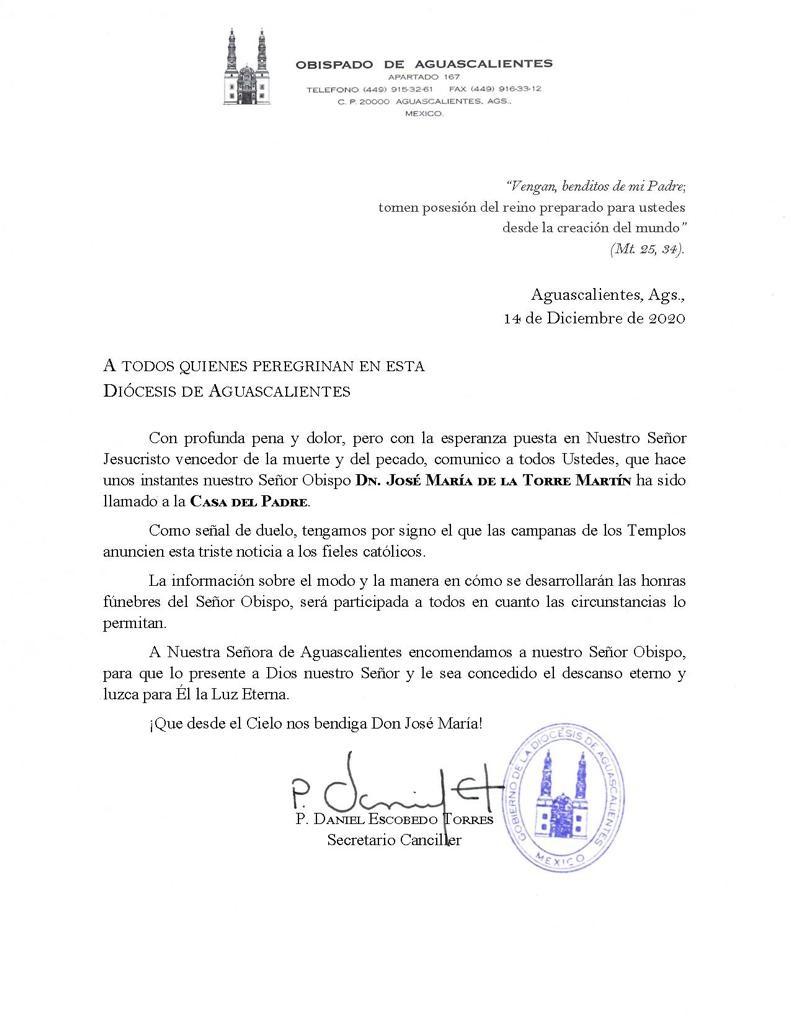 comunicado muerte obispo aguascalientes
