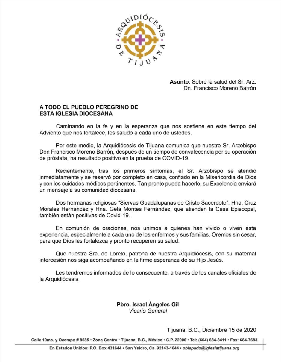 Comunicado arzobispo Tijuana covid