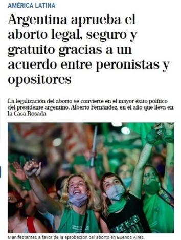prensa legalización del aborto Argentina