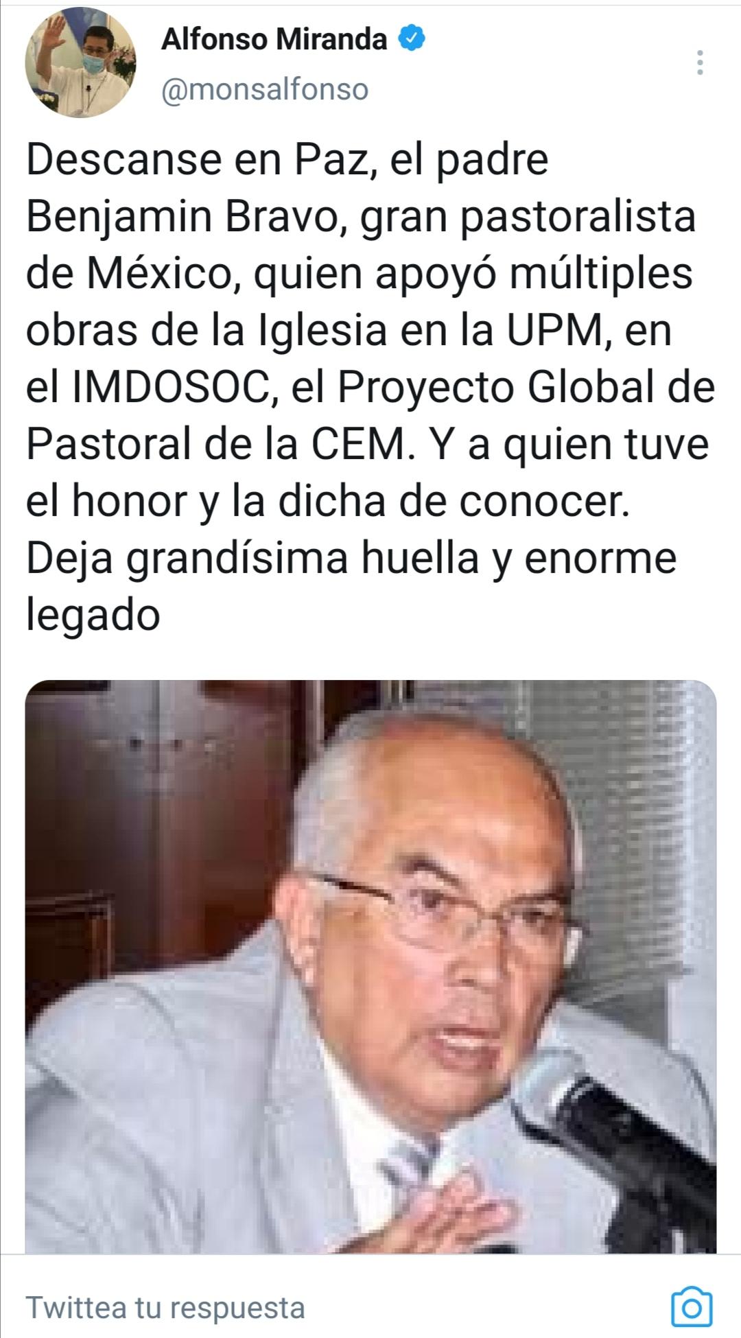 Benjamin Bravo tuit Alfonso Miranda