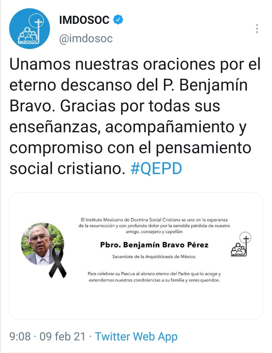 Benjamin Bravo tuit IMDOSOC