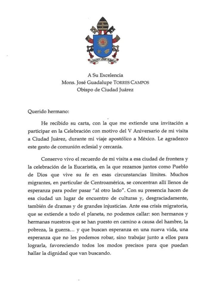 Papa carta Juarez