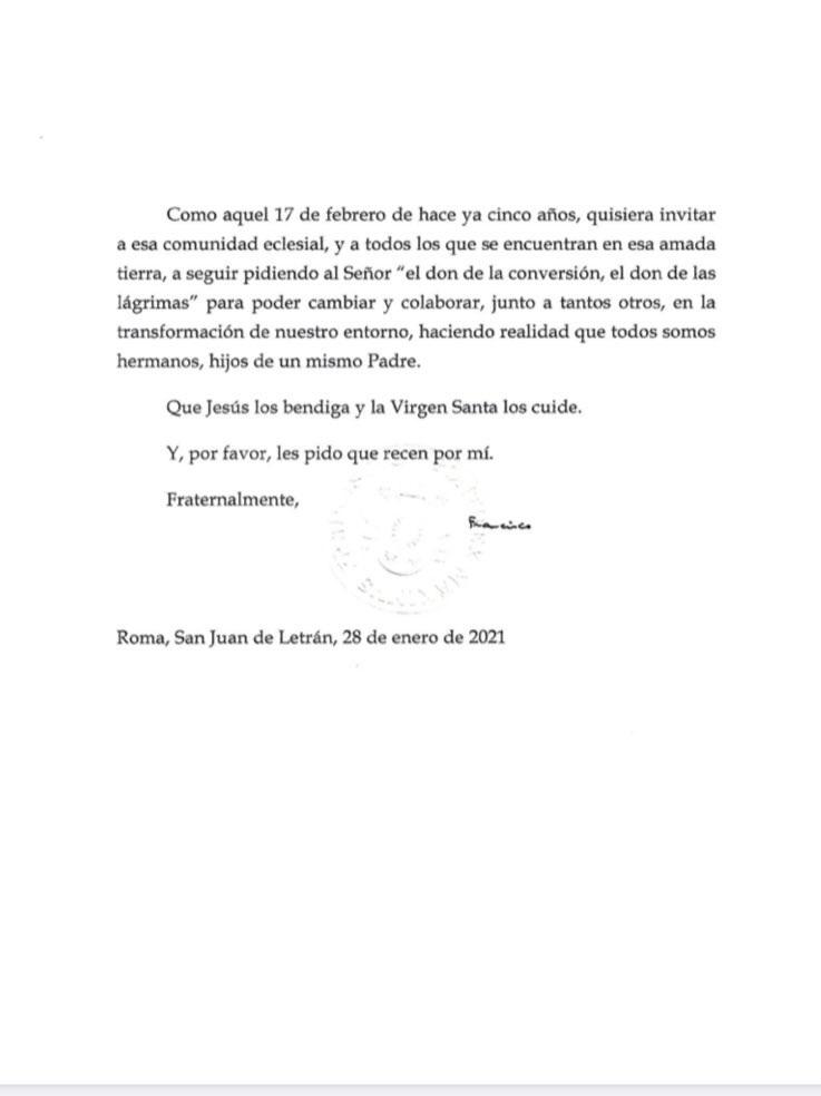 Papa carta Juarez 2