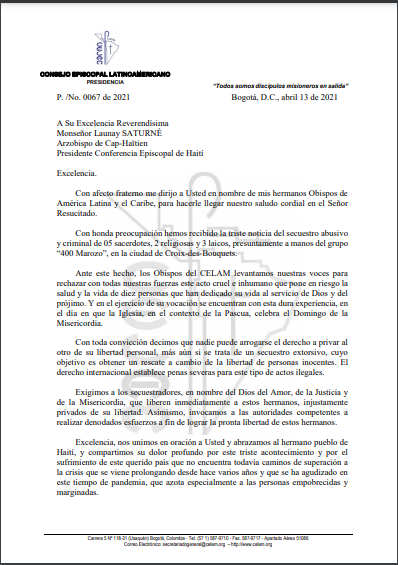 Carta CELAM Haití