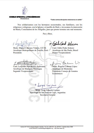 Carta CELAM Haití 1