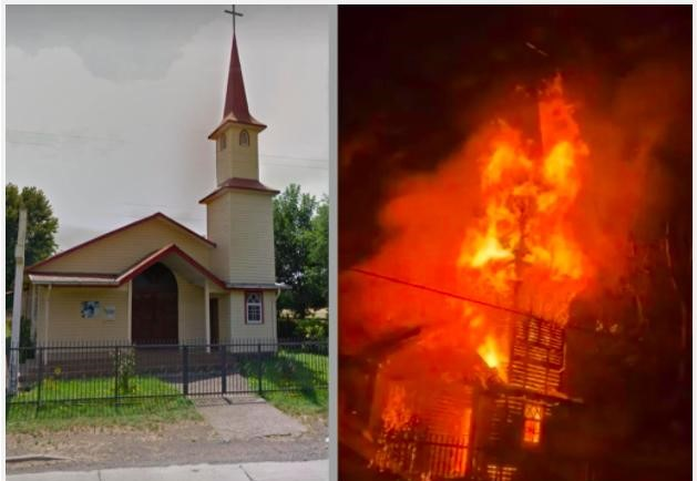 Iglesia incendiada en Chile