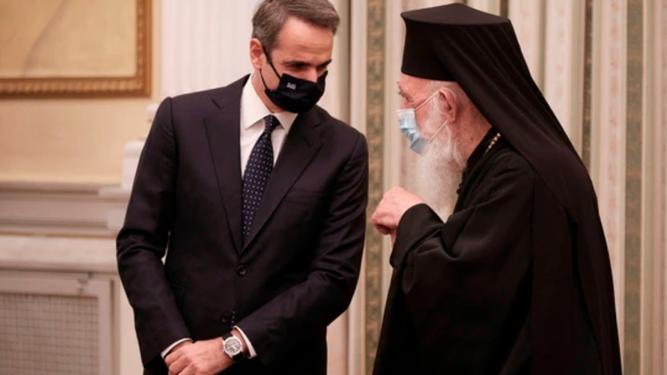 Patriarca Jerónimos, y el primer ministro griego, Kyriakos Mitsotakis