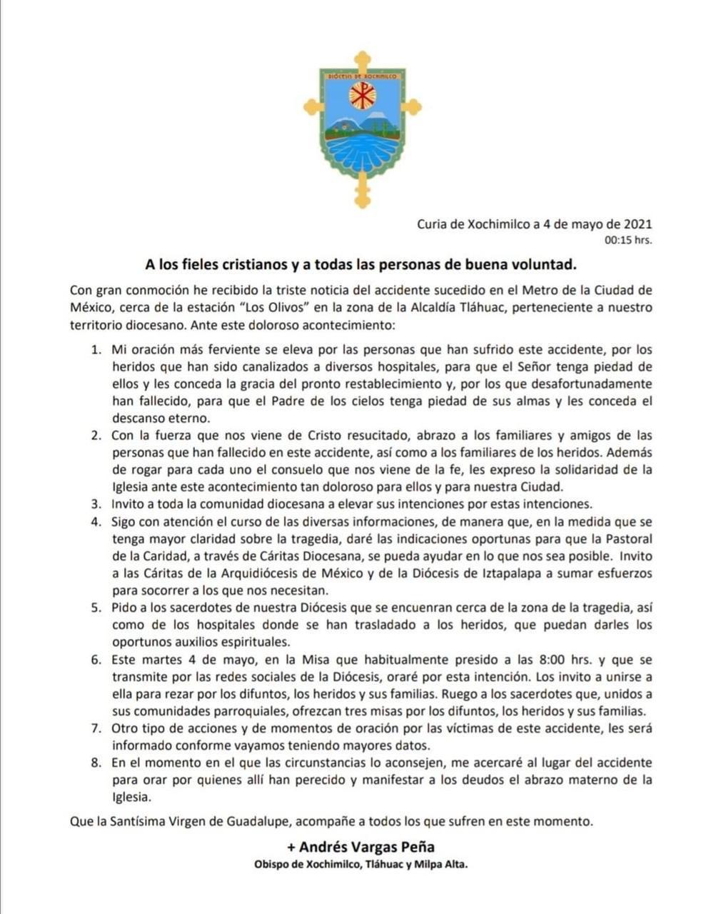 comunicado xochimilco tragedia metro cdmx