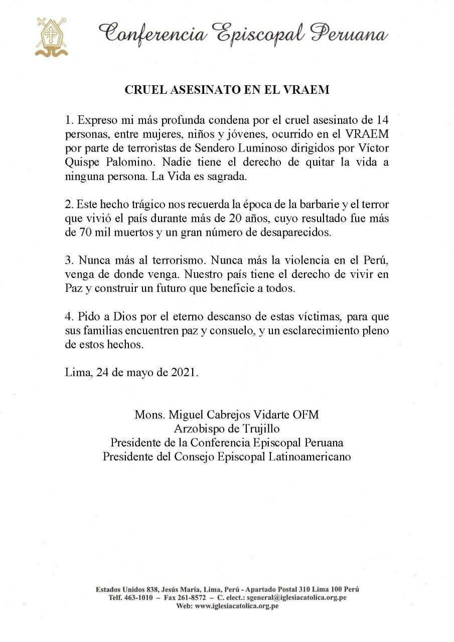 Comunicado Conferencia Episcopal Peruana