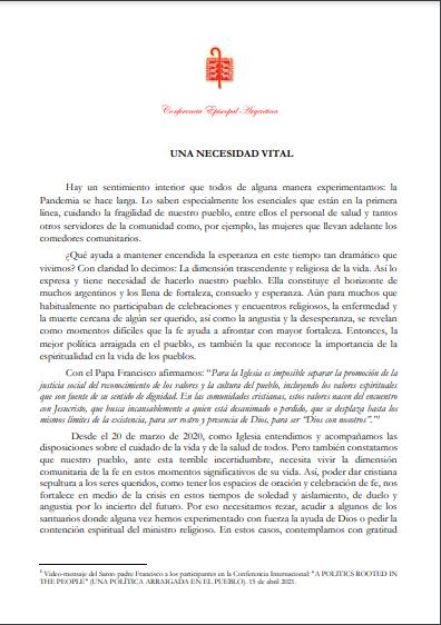 Comunicado Obispos Argentina