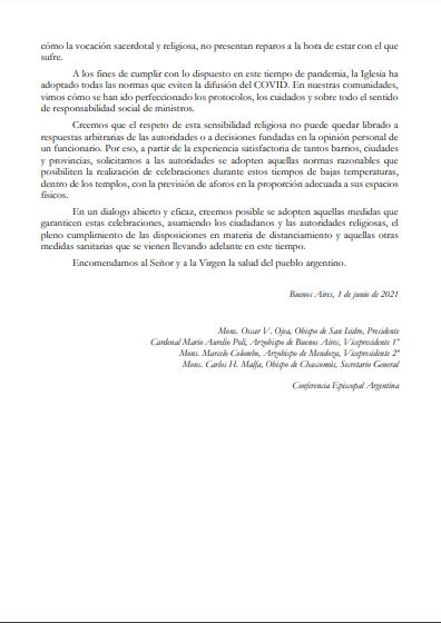 Comunicado Obispos Argentina 1