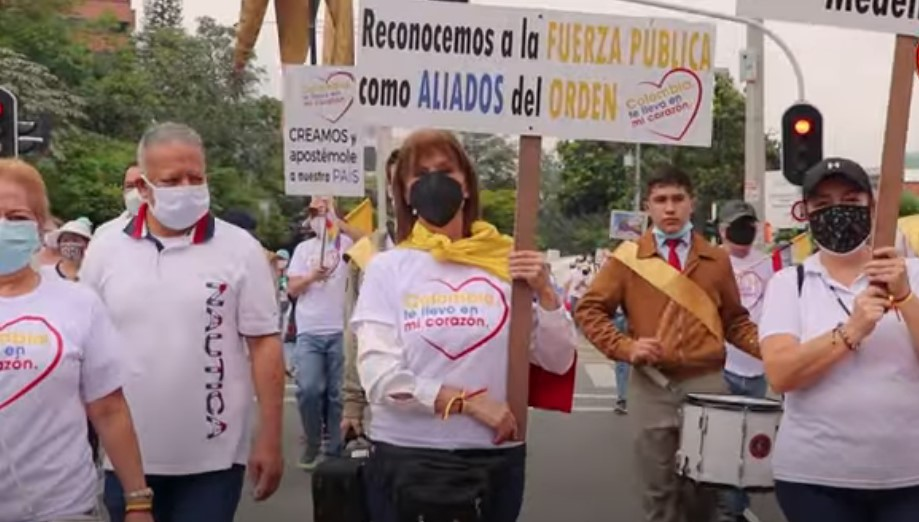 marcha contra el paro en Colombia