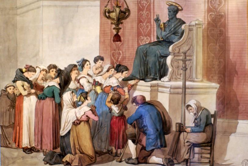 bartolomeo pinelli - il baccio del piede di san Pietro