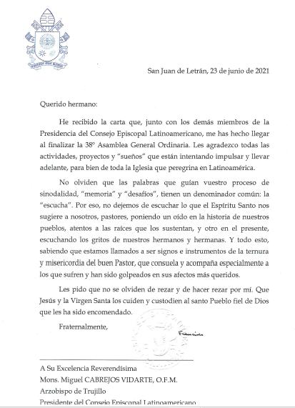Carta Papa al Celam