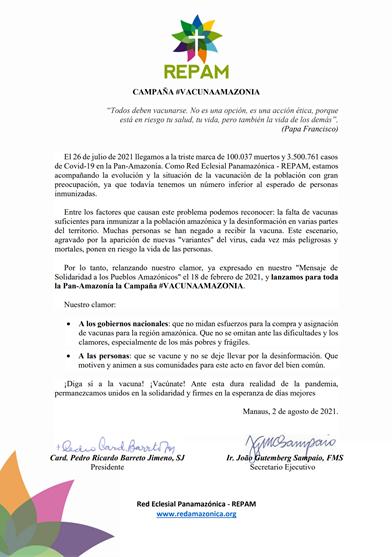 Mensaje REPAM Vacuna