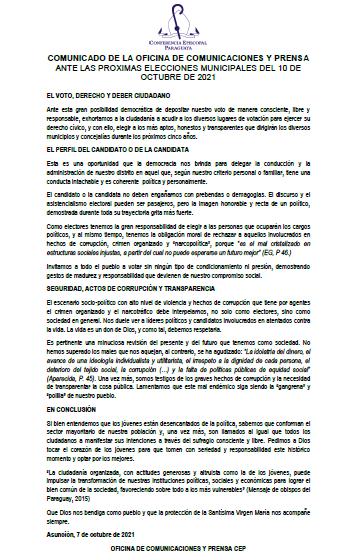Mensaje Obispos Paraguayos